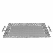 "Julia Knight Diamond 24""  Handle Rectangular Tray Platinum"