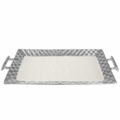 "Julia Knight Diamond 24""  Handle Rectangular Tray Snow"