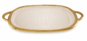 "Julia Knight Florentine 22.5"" Handled Tray Gold Snow"