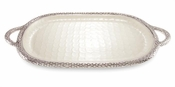 "Julia Knight Florentine 22.5"" Handled Tray Silver Snow"