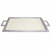 "Julia Knight Florentine 23"" Beveled Tray with Handle Snow"