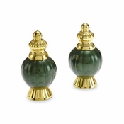 "Julia Knight Peony 4"" Salt & Pepper Set Gold Emerald"