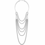 Karine Sultan Elia Layered Necklace In Silver - CLOSEOUT