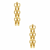 SOLD OUT Karine Sultan Gold Classy Triple Link Pendant Earrings - CLOSEOUT