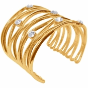 Karine Sultan Gold Cuff With Crystals - CLOSEOUT