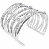 Karine Sultan Silver Cuff With Crystals - CLOSEOUT