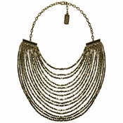 Karine Sultan Joan Beaded Multistrand Necklace In Brass - CLOSEOUT