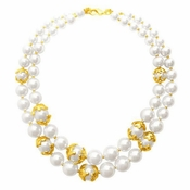SOLD OUT Karine Sultan Pearls & Gold Necklace - CLOSEOUT