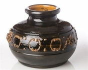 Kasbah Brown Ceramic Vase with Rust Finish
