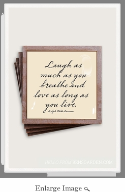 Laugh As Much As You Breathe Copper & Glass Coasters 4 Pc Set
