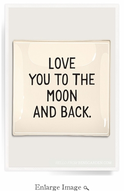 Love You To The Moon Decoupage Glass 8x8 Tray