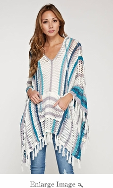 Lovestitch Blue Crochet Hooded Poncho - CLOSEOUT