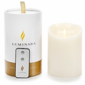 Luminara Flameless Candle with Remote - Ocean Breeze Ivory Pillar - 5 in - CLOSEOUT