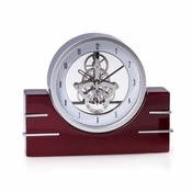 Mahogany Wood Skelton Movement Quartz Clock