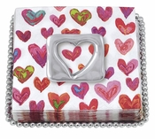 Mariposa Open Heart Beaded Napkin Plate - CLOSEOUT