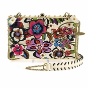 Mary Frances Blossoms White Handbag
