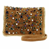 Mary Frances Shattered Tan Mini Bag