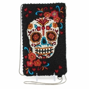 Mary Frances Skull Flower Cell Phone/Glasses Pouch