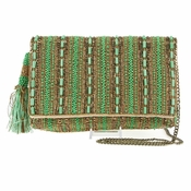 Mary Frances Stripe It Green Clutch