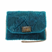 Mary Frances Teal I Meet You Mini Bag