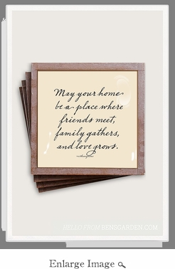 May Your Home Copper & Glass Coasters 4 Pc Set