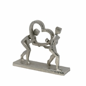Metal Figurine With Heart Silver