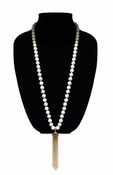 MGEMS White Turquoise Tassel Necklace - Gold