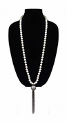 MGEMS White Turquoise Tassel Necklace - Gunmetal