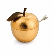 Michael Aram Apple Honey Pot w/ Spoon Goldtone
