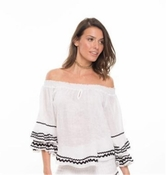 Mira Bell Sleeved Top- White - 70% OFF CLOSEOUT