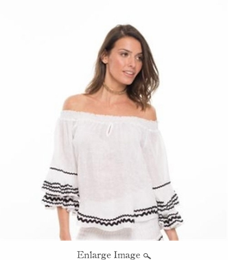 Mira Bell Sleeved Top- White - CLOSEOUT