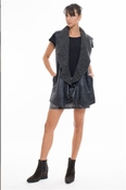 Muche et Muchette Diago Sleeveless Short Vest- Metallic Black