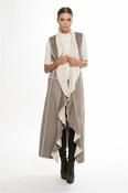 Muche et Muchette Diago Suede Sleeveless Fur Long Vest- Taupe