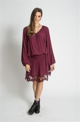 Muche et Muchette Elize Elastic Waist Dress With Lace Details- Burgandy