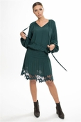 Muche et Muchette Elize Elastic Waist Dress With Lace Details- Winter Green - CLOSEOUT