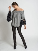 Muche et Muchette Jolie Flower Lace Off The Shoulder Top - Houndstooth