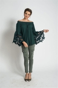 Muche et Muchette Jolie Flower Lace Off The Shoulder Top - Winter Green
