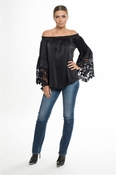 Muche et Muchette Jolie Satin Flower Lace Off The Shoulder Top - Black