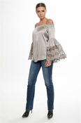Muche et Muchette Jolie Satin Flower Lace Off The Shoulder Top - Silver Grey