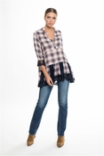 Muche et Muchette Lena Plaid Loose Blouse W Lace Inserts- Blush Plaid