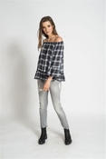 Muche et Muchette Mandy Ruffle Top - Plaid Black - CLOSEOUT