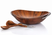 Nambe Braid Salad Bowl w/Servers - Chrome Plate & Wood