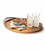 Nambe Braid Serving Tray - Chrome Plate & Wood