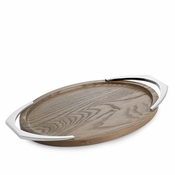 Nambe Cabo Oval Handled Tray Nambe Alloy/American Ash Wood