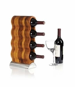 Nambe Curvo Wine Rack - Alloy & Wood