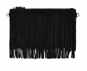 Handbag Butler Mighty Purse Fringe Black X-Body - CLOSEOUT