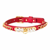 """Olivia Riegel Red Calfskin """"Princess""""Dog Collar with Crystals - MD"""