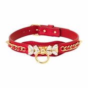 """Olivia Riegel Red Calfskin """"Queen"""" Dog Collar with Crystals - LG"""