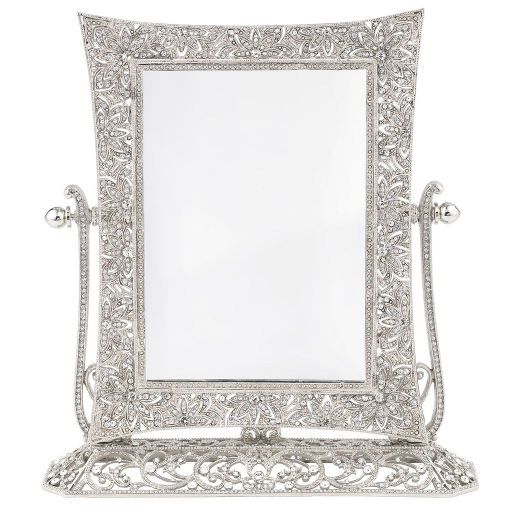 mirrored luxury elegant accessories hexagonal for vanity crystal wood home tray ideas idea of decorating