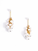 Pearly Cluster Earrings Gold Pearl